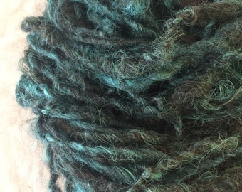 Icelandic mix teal wool handspun bulky weight single ply 106 yards permaculture iowa farm rare breed organic