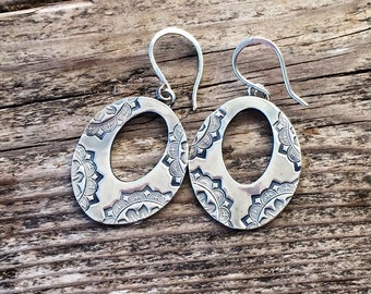 Sterling silver 'Lile' earrings, handmade drop earrings.