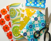 5 pieces of vintage wallpaper for collage - charm pack 60s 70s for art projects