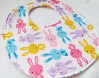 Baby Girl Bib - Bunnies in Multi - Boutique Bib for Baby or Toddler Girl