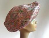 Vintage 60s Quirky Cocktail Beret Hat Avant Garde Tam Womens Evening Metallic Lurex RAINBOW Multicolor Sparkle