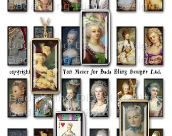 23mm x 48mm,  Marie Antoinette, Before The Fall ...INSTANT Download at Checkout, Marie Antoinette collage sheets for 1 x 2 pendants