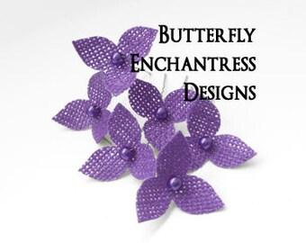 Purple Wedding Hair Flowers, Bridal Hair Accessories, Rustic Bridesmaid Gifts - 6 Purple Burlap Trillium Hair Pins - Pearl Centers