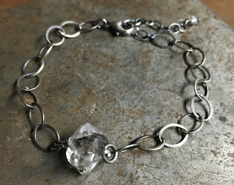 Items similar to Dainty 14k gf Herkimer Diamond Bracelet on Etsy