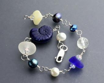 Sea glass jewelry - Sea glass bracelet - beach glass bracelet - Nautilus shell -  sterling silver bracelet - stone bracelet - jewelry