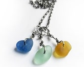 Colorful Seaglass Beach Glass Trio Necklace Sterling Silver Oval Rolo Chain