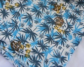 Vintage Feedsack Cotton Fabric Blue Asian Leaf Print Cotton Fabric 37 x 44 inches SALE