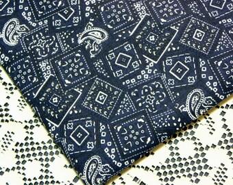 Bandana Fabric Dark Blue Cotton Country Rodeo Print 2 yards