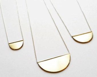 The Golden Moon Minimalist Half Moon Slider Necklace. Gold Minimalist Necklace. Geometric Gold Necklace.