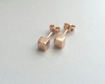 Minimalist Rose Gold Cube Stud Earrings. Rose Gold Studs. Rose Gold earrings. Small rose gold studs.