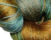 Lonely Skein 'sale' POND BOTTOM in Hand Dyed Poet Seat Fingering Weight Superwash Merino and Silk Yarn