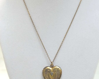 Antique Locket, Heart Locket, Art Nouveau Locket, Gold Fill Locket, 14KT Locket, A.L.L. CO Locket, Lindroth Locket, 1920's Heart Locket