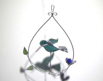 Dashing Wings - 3D Stained Glass Nature Spinner - Mini Hummingbird Flower Garden Wire Home Garden Decor Yard Art Suncatcher (READY TO SHIP)