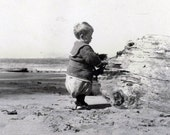 vintage photo 1910 Baby Bloomers Sweet Sand Castle at Beach snapshot