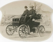 vintage photo 1901 Men Ride in Horseless Carriage Car