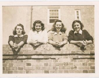 vintage photo 1950s Young Women Same Pose over Garden Wall
