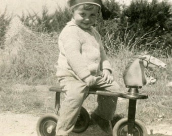 Vintage photo 1935 Sweetest BAby Rides Dapple GRay Horsie Scooter Toy snapshot photo