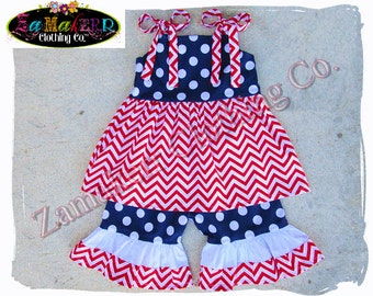 GIRL 4th of JULY Outfit Set Shorts Capri Pant Top Chevron Summer Red White Blue Size 3m 6m 9m 9 12 18 24 month 2 2T 3 3T 4T 4 5T 5 6 7 8