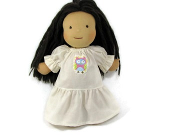 15 to 17 inch Waldorf doll's sweet nightgown in unbleached muslin with owl patch