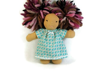 8 inch Chubby Waldorf Doll Clothes, Teal Coral print doll dress, small doll clothing, cotton doll dress, optional bloomers