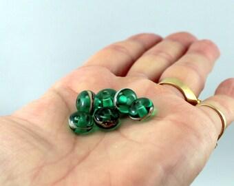 lampwork glass beads, 6 little beads, teal green glass beads, green lampwork beads, SRA beads, bead set, artisan lampwork beads, small beads