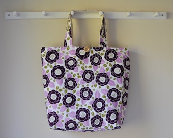 Large Fabric Tote - Bloom in Lilac