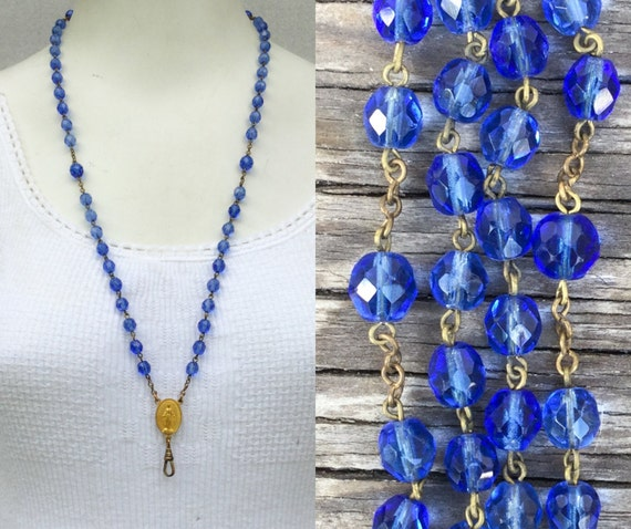 Vintage Blue glass Rosary chain Lanyard. glass bead Necklace. Charm holder C25