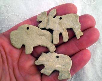 3 Animal Beads, Ceramic Beads, Clay Beads, Boho Beads, Rustic Beads, Pottery Beads