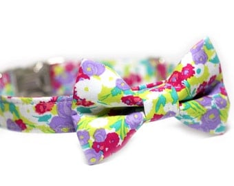 Floral Bow Tie Collar, Doggy BowTie Collar, Personalied option - Petal Pusher