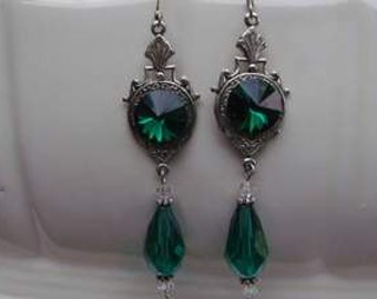 Wedding Victorian Chandelier Crystal emerald green drop silver earrings