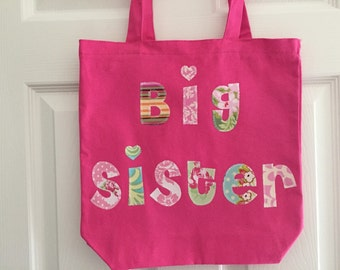 Big Sister Tote Bag - Great as a Birthday Present, Library Book Bag, Sleepover, or Extracurricular Activity Bag