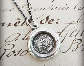 """Wax Seal """"Forget Me Not"""" charm necklace- Remembrance Necklace - Flower Wax Seal Charm - Keepsake Necklace - Remember Me Always - V1100"""