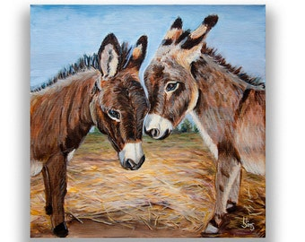 Donkey print, farmhouse decor, Donkey painting reproduction, farm animal print, giclee art print, country home rustic decor, size mat option