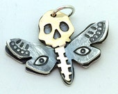CS15 - Deathhawk Moth Charm by Amuckdesign - Sterling and 14K goldfill skull and moth Charm Pendant
