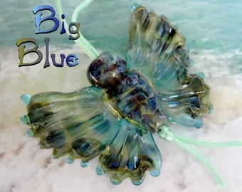 Big Blue Glass Butterfly Lampwork Sculpted Bead