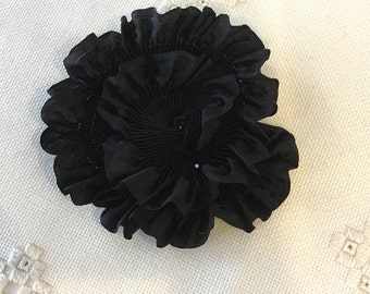 """Pleated Rich Black 100% Silk Ribbon 1-1/4"""" wide 1 Meter long, great for flowers or doll costuming"""