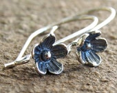 Bali Floral Earwires Oxidized Sterling Silver 26mm x 7mm  : 1 Pair Silver Flower Ear Wire