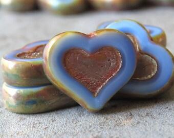 Periwinkle Blue Czech Glass 14mm Picasso Heart Bead : 6 pc Blue Heart Bead