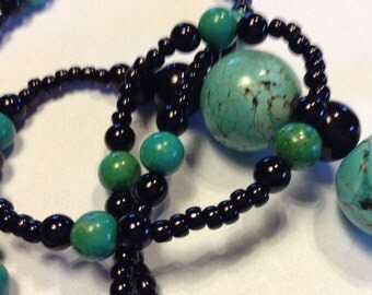 Long Black and Turquuoise Beaded Necklace
