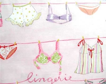 """1/2 yard - Lingerie on the Line by Alexander Henry cotton fabric  18"""" x 44"""" white background"""