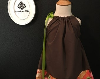 Will fit Size 2T up to 7 yr - Ready to MAIL - Pillowcase Dress or Top - Mod Retro - Orange and Brown - by Boutique Mia