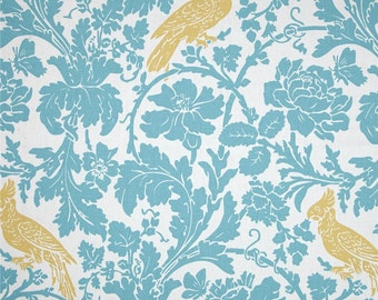 Barber coastal blue saffron curtains yellow blue curtains bird curtains 50 inches wide, 63, 72 or 84 long