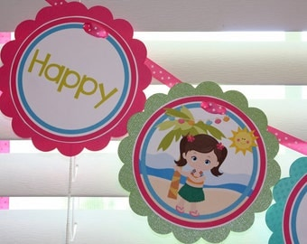 HULA GIRL Birthday Banner / Luau Girl Birthday Banner / Luau Birthday Banner / Luau Banner / Luau Birthday Party / Hawaiian Birthday Banner