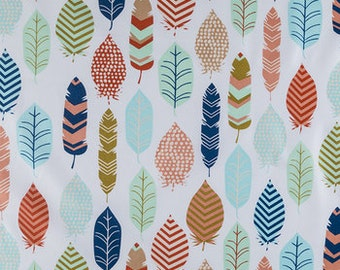CORAL AQUA FEATHERS Fabric,  Yardage Fabric by the half or full yard, coral, aqua, teal, feathers,  print, cotton