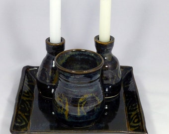 Shabbat Set with Cup, Candlesticks, and Tray