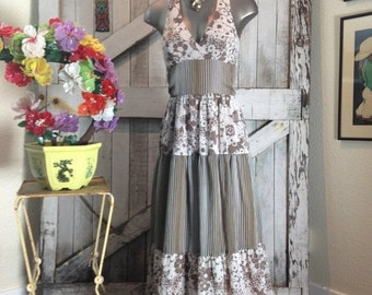 On sale 1970s brown maxi dress 70s full length halter dress size small Vintage bohemian sundress