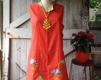 On sale 1960s tent dress 60s orange dress  trapeze dress cover up size medium large Vintage summer smock