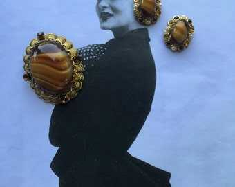 1950s jewelry demi parure costume jewelry brooch and earrings 50s brooch set Vintage jewelry mad men jewelry
