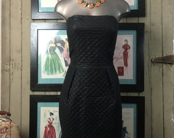 Fall sale 1980s dress hourglass dress 80s quilted dress Betsey Johnson dress size small vintage dress Designer dress