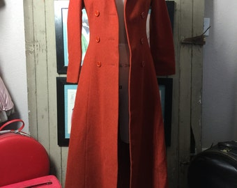 1970s wool coat 70s hooded coat size small Vintage hippie coat rust orange double breasted maxi